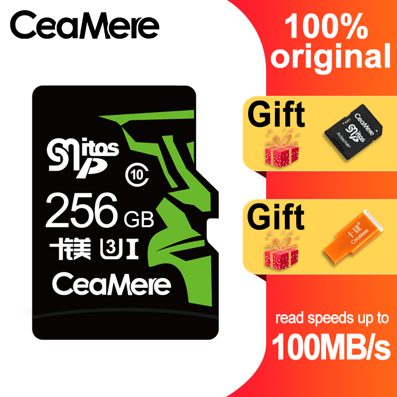 CeaMere 256 ГБ 128 Гб 64 Гб карта памяти U3 UHS 3 32 ГБ Micro sd карта класс 10 UHS 1 флэш карты памяти Microsd TF/sd карта s для планшета-in Карты памяти from Компьютер и офис