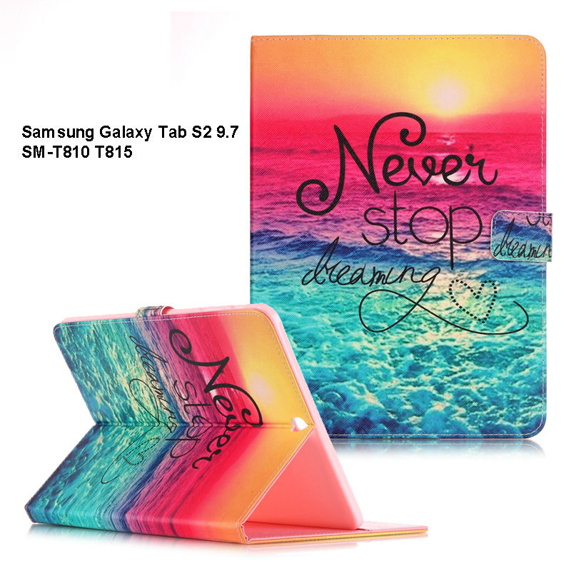 Fashion Painted case for Samsung Tab S2 9.7 Stand Function PU Leather Cover For Samsung Galaxy Tab S2 9.7inch T810 T815 SM-T810 tab s2 9 7 inch tablet cover case for samsung galaxy tab s2 9 7 sm t810 t815 retro fashion wood pu leather original folding case