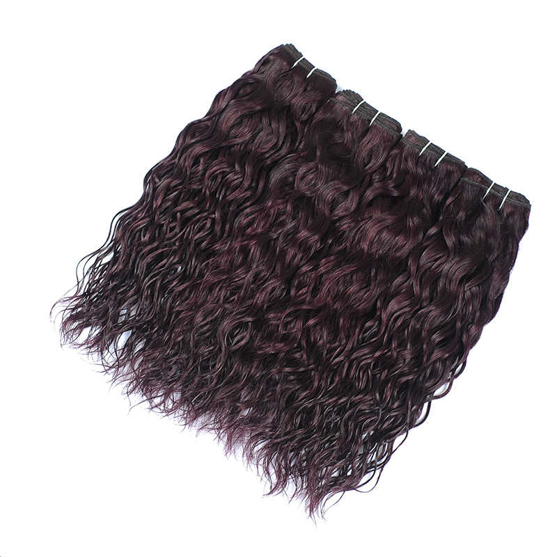 I Envy 4 шт. человеческие волосы пучки водяные волнистые пучки цветные бордовые 100% человеческие волосы бразильские темно-фиолетовые пучки не реми волосы