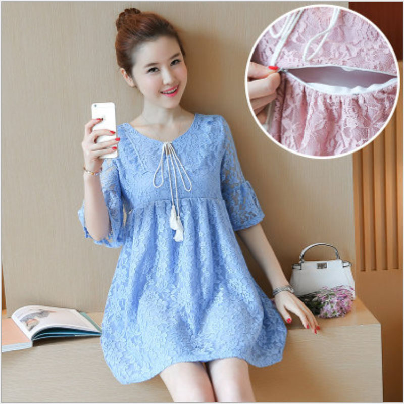 2017 New Lace Maternity Nursing Dress for Pregnant Clothes Women Maternity Dresses Breastfeeding Nursing Clothes Size M-2XL new party pregnant coat lace long pregnant breastfeeding dresses for women nursing dress hot selling