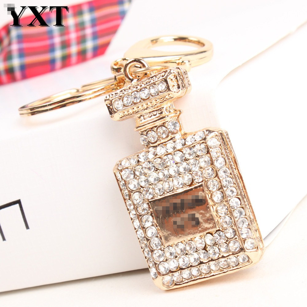 Elegant Square Perfume Bottle Car Keyring Lovely Hangtag Pendant Women Rhinestone Crystal Purse Bag Key Chain Delicate Gift