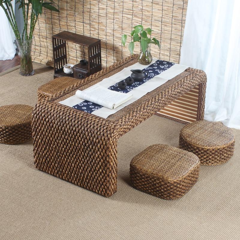 Hand Weave Japanese Tatami Floor Coffee Tables Rattan Wicker Tea Home Living Room Furniture Window Table Indoor Japan Chess Desk