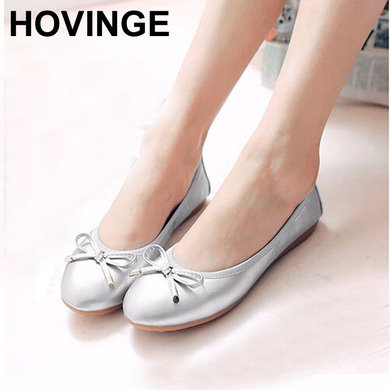 HOVINGE New Women Ballet Flats Genuine