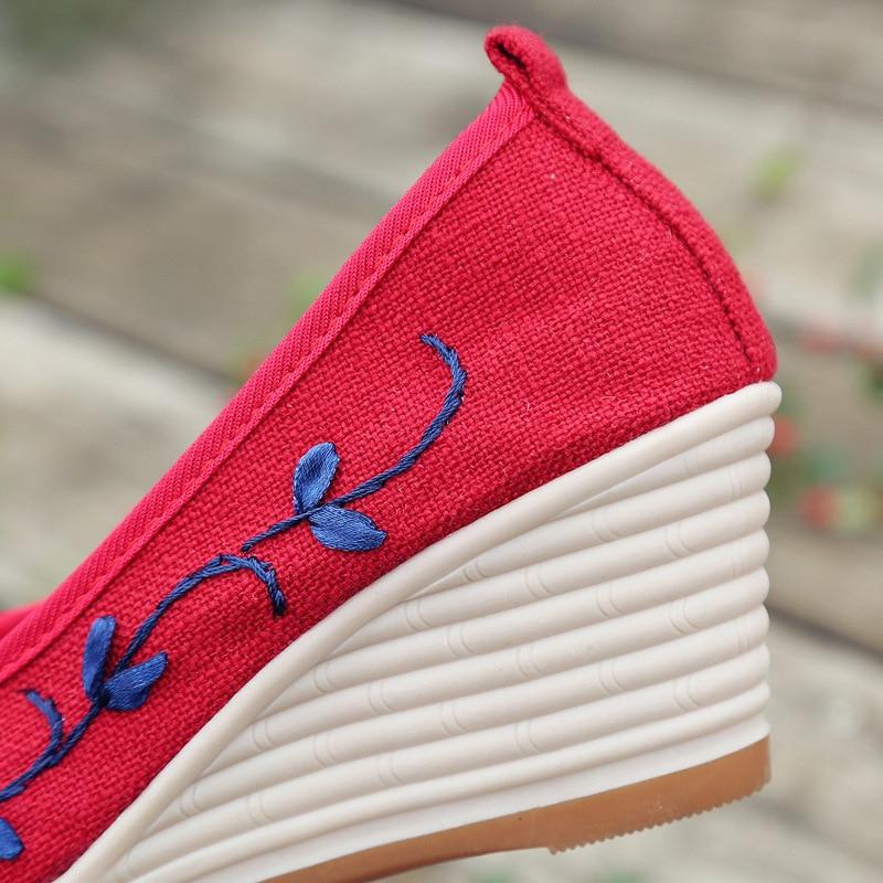 vert Lin Med bleu or 2018 Talon rouge Vintage forme D'été Wedge Femmes Filles Chaussures Brodé Sandales Casual Beige Pompe Plate Toile Respirant URqXvU