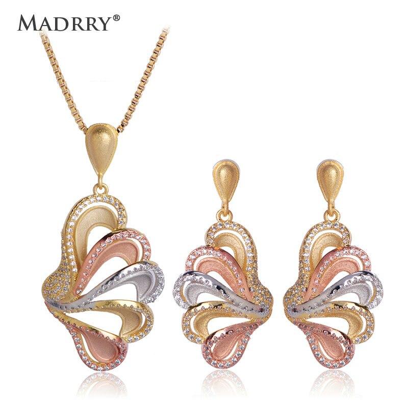 Madrry ailes de papillon forme bijoux ensembles collier boucles d'oreilles pour femmes 3 tons AAA Zircon mat pulvérisation sable accessoires ensembles