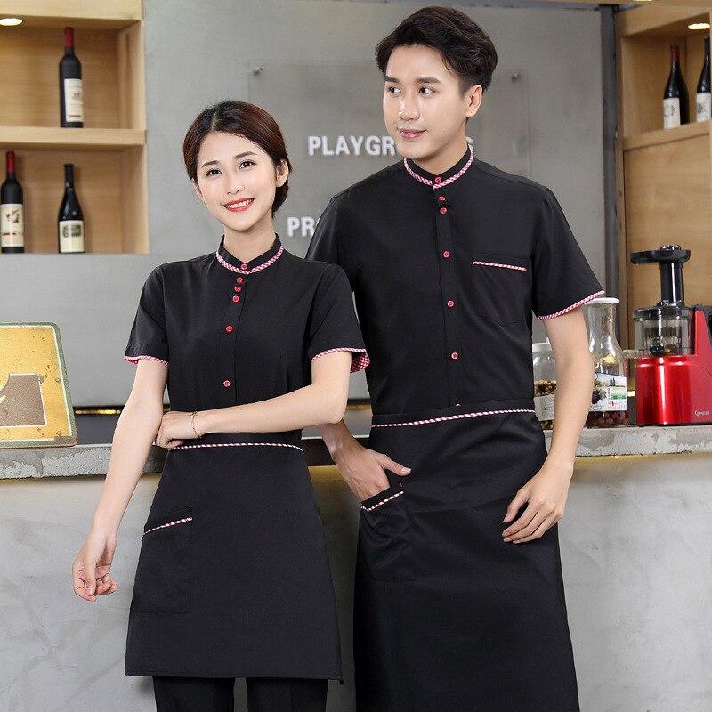 Hotel Waiter Uniform Female Waitress Chinese Restaurant Work Clothes Waiter Man Short-sleeved Hot Pot Shop Shirt Overalls H2218