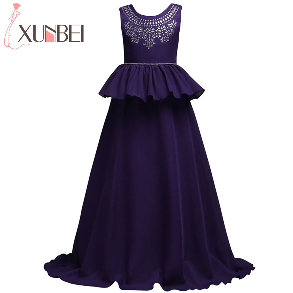 Long Chiffon Red Blue   Flower     Girl     Dresses   2019 Beaded Crystal   Girls   Pageant   Dresses   For   Girls   Glitz Kids Evening Gowns