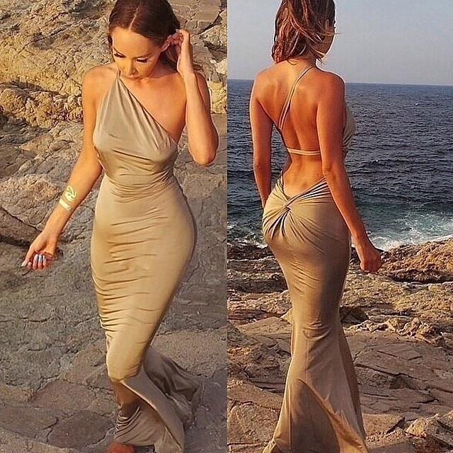 3d3965f930b Khaki Red Summer Thin Beach Dress Sexy Backless Maxi Dress Womens Party  Dresses Long Bandage Bodycon Dress Vestido De Festa 2015