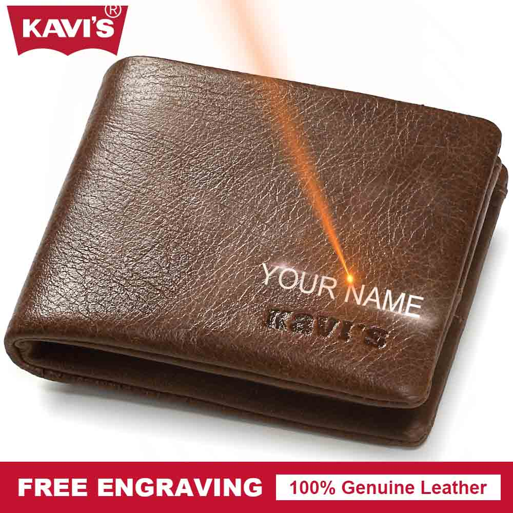 KAVIS Genuine Leather Small Wallet Men Mini Coin Purse Male Cuzdan Portomonee Rfid PORTFOLIO Walet and Card Holder Money Bag joyir vintage men genuine leather wallet short small wallet male slim purse mini wallet coin purse money credit card holder 523