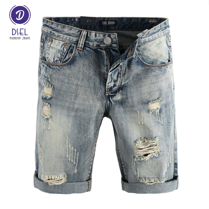 DSEL Brand Mens Jeans Shorts Summer Style Fashion Destroyed Short Ripped Jeans Men Shorts Knee Length Denim Shorts Size 29-38 цена 2016