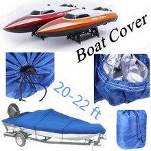 Boat Cover NEW Heavy Duty Fishing Ski Runboat Boat COVER 20-22 Ft 100inch Beam V-Hull Waterproof Blue Waterproof Kit