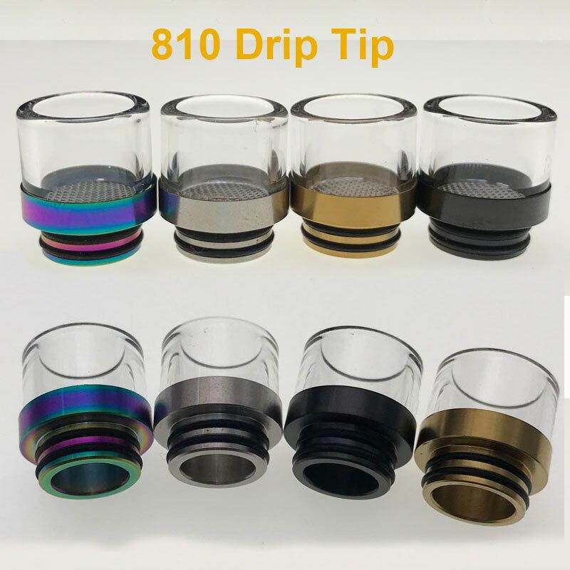 Vaporlinda 810 Glass Drip Tip Stainless Steel Mouthpiece For E Cigarette Tank RDA Atomizer DIY Vaporizer The Frying Oil