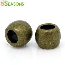 8 ESTAÇÕES Spacer Beads Barrel Antique Bronze 6mm x 5mm (2/8