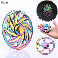 Multicolor Circular Tri Hand Spinner Zinc Alloy Austim Learning Educational Toy Stable Long Time Adult Nostalgia