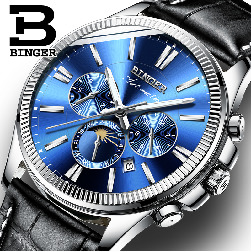 BINGER Watch Men Luxury Brand Automatic Mechanical Men Watches Sapphire Wristwatches Moon Phase relogio masculino Mens Watches