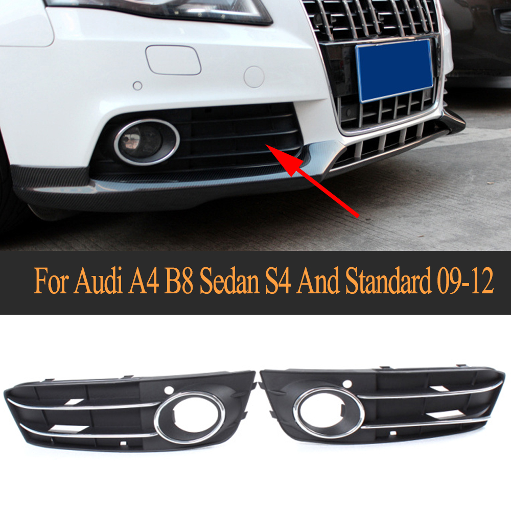 Arrival Front Bumper Lower Insert Fog Lamp Cover ABS Fog Light Mask Cover Grill Grid For Audi A4 B8 Sedan S4 And Standard 09-12 front bumper fog lamp cover abs fog light mask cover grill grid with led light grille for audi for a6 c7 2013