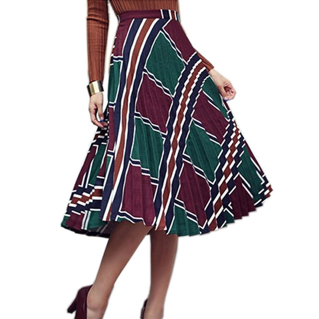 Fashion Hit Color Geometric Print High Waist Pleated Skirt Women 2017 Autumn Winter Vintage Plaid Long Skirts Lady Midi Skirt