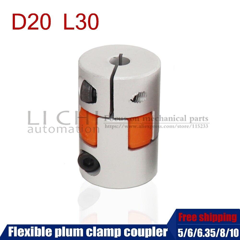 Free shipping Flexible plum clamp coupler D20 L30 shaft size 5/6/6.35/7/8/10mm CNC Jaw shaft coupling 5mm 8mm цена