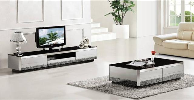Coffee Table,TV Cabinet 2 Piece Set, Modern Design Gray Mirror Home  Furniture, Part 95