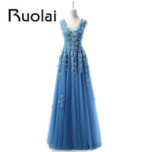 Real Sample New Arrival 2016 Blue Lace Applique Flowers Tulle Scoop A Line Formal Long Evening Dresses For Wedding Party