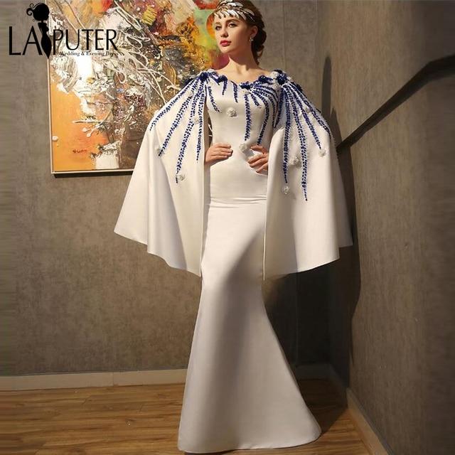 vestidos de formatura 2017 3D Flowers Royal Blue Beads Arabic Indian Saree  Evening Dress Women White Prom Dresses Abendkleider 29af9c1f4f4c