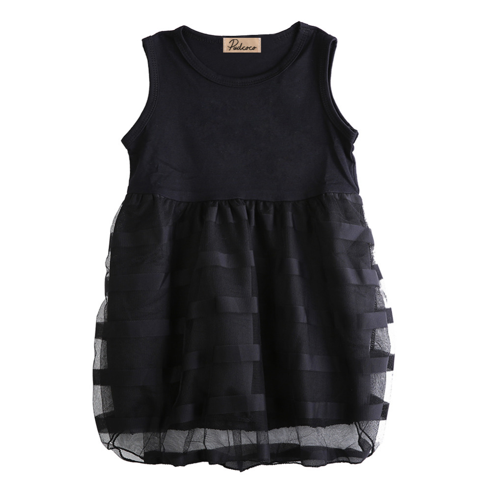 Populous Baby Kids Girls Clothes Princess Black Short Fashion Summer Cool Solid PartyTulle Dresses 2 3 4 5 6 7 Years populous baby kids girls clothes princess black short fashion summer cool solid partytulle dresses 2 3 4 5 6 7 years