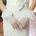FineTulle Butterfly Flower Bridal Gloves Handmade wedding accessories white/ red short bridal gloves wrist gloves wedding gloves