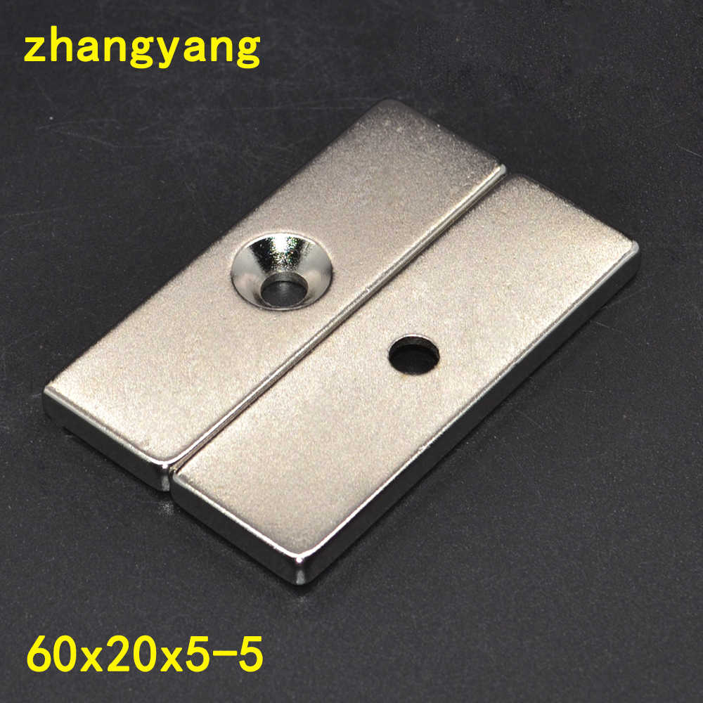 1 PCS 60x20x5 Super Kuat Block Berbentuk Kubus Neodymium Magnet 60x20x5mm Countersunk lubang 5mm Rare Earth 60*20*5-5