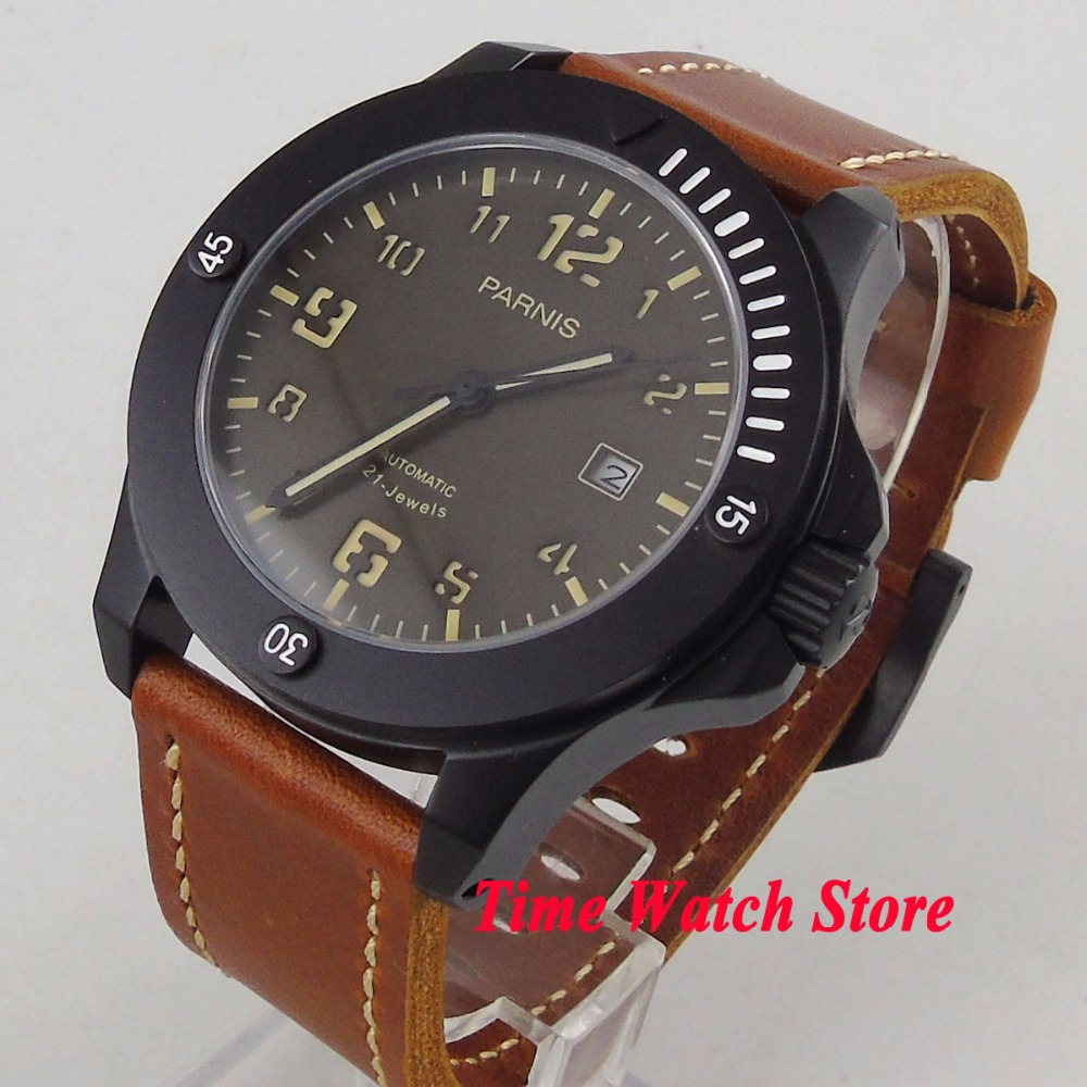 Solid 43mm Parnis watch PVD case Sapphire glass black dial luminous 21 jewels MIYOTA Automatic movement Men's watch 1198 цена и фото