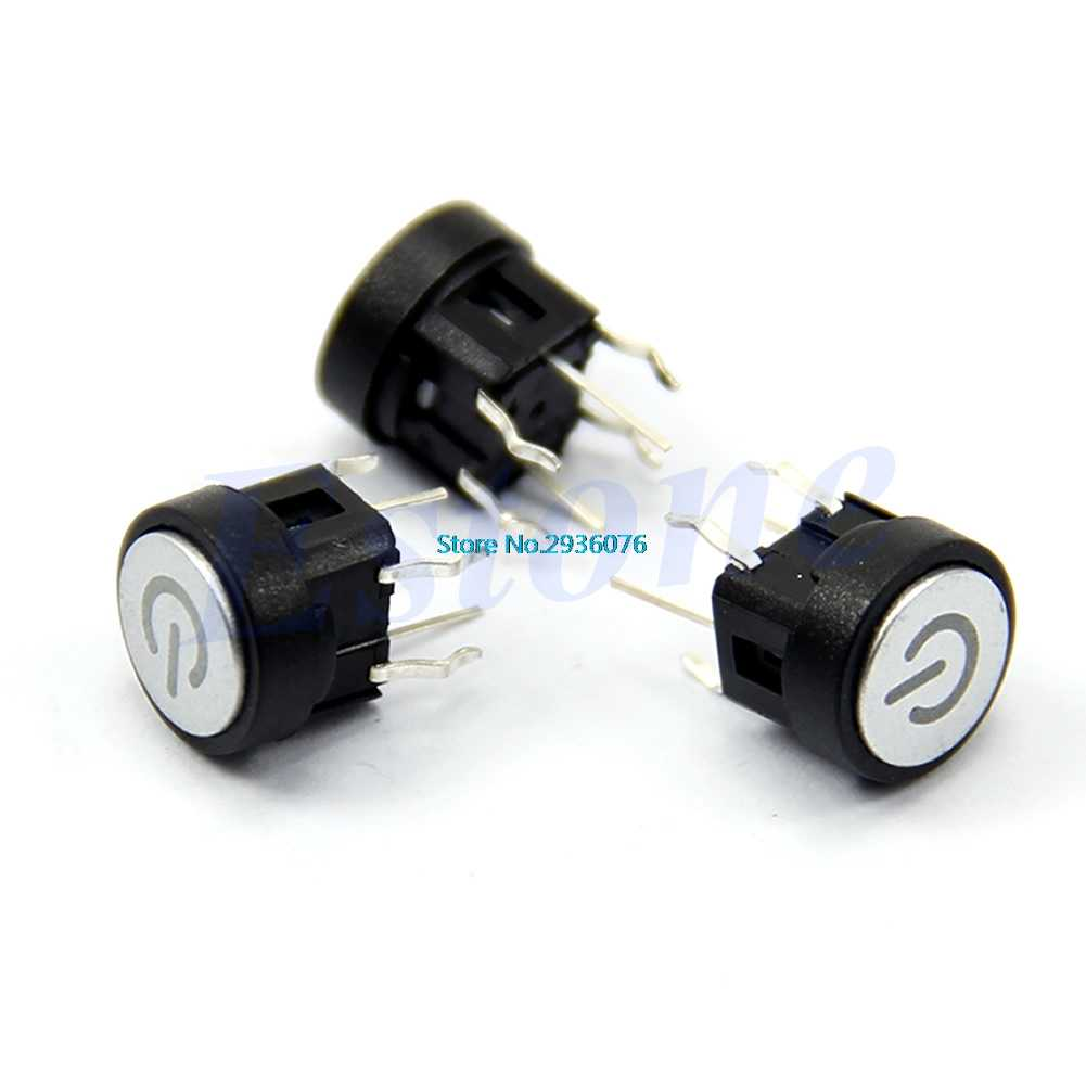 Interrupteur d'alimentation lampe LED verte symbole bouton poussoir interrupteurs de coque d'ordinateur à verrouillage momentané