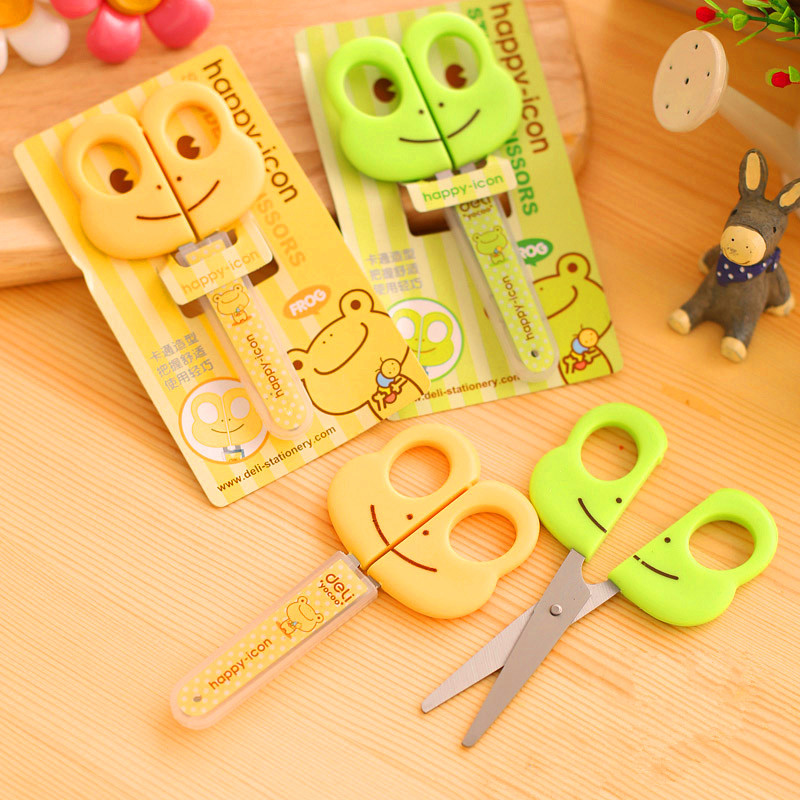 1 Pc Cartoon Frog Hippo Safety Scissors For Kids DIY Students Scissors With Cap Green And Yellow 122mm Deli 6031