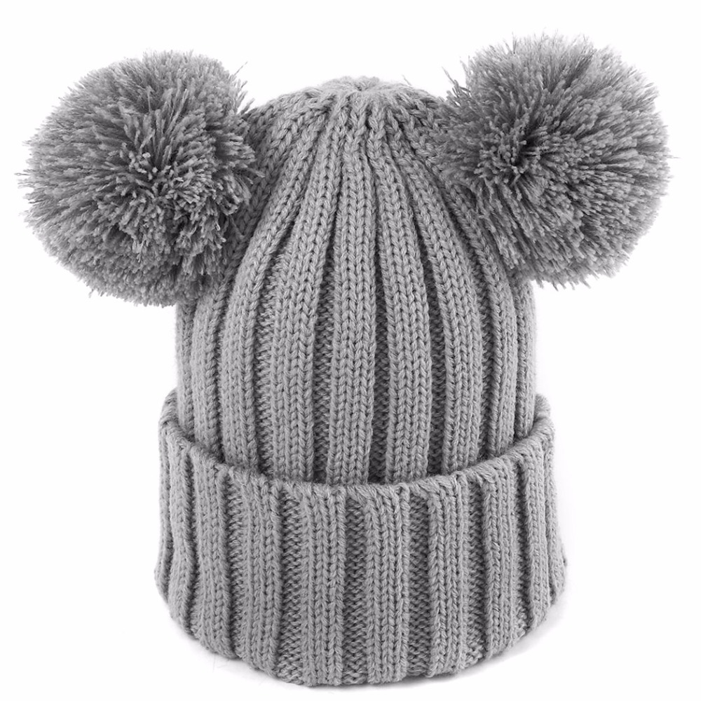 2017 Autumn Winter Hat Children Kids Cotton Beanies Cap Pom Pom Ball Knitted Wool Warm Skullies Girls Boys Hats Bonnet gorros the new children s cubs hat qiu dong with cartoon animals knitting wool cap and pile