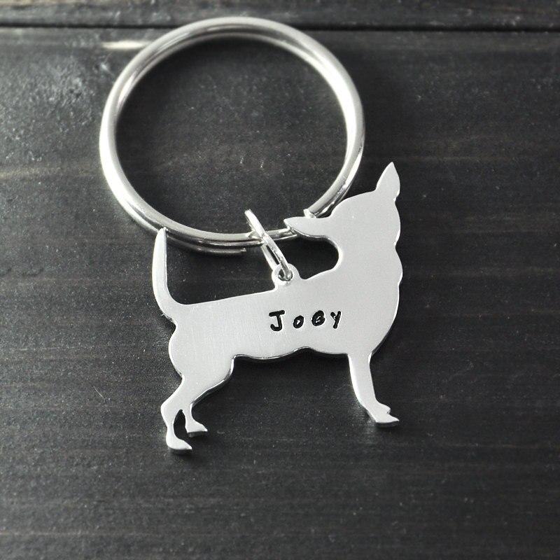 Chihuahua Keychain Dog Key Chain Alloy Hand Cut Chihuahua Pendant