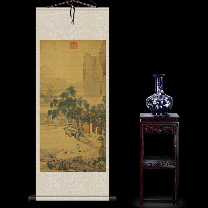 Antique painting traditional Chinese  scroll painting,old paper painting