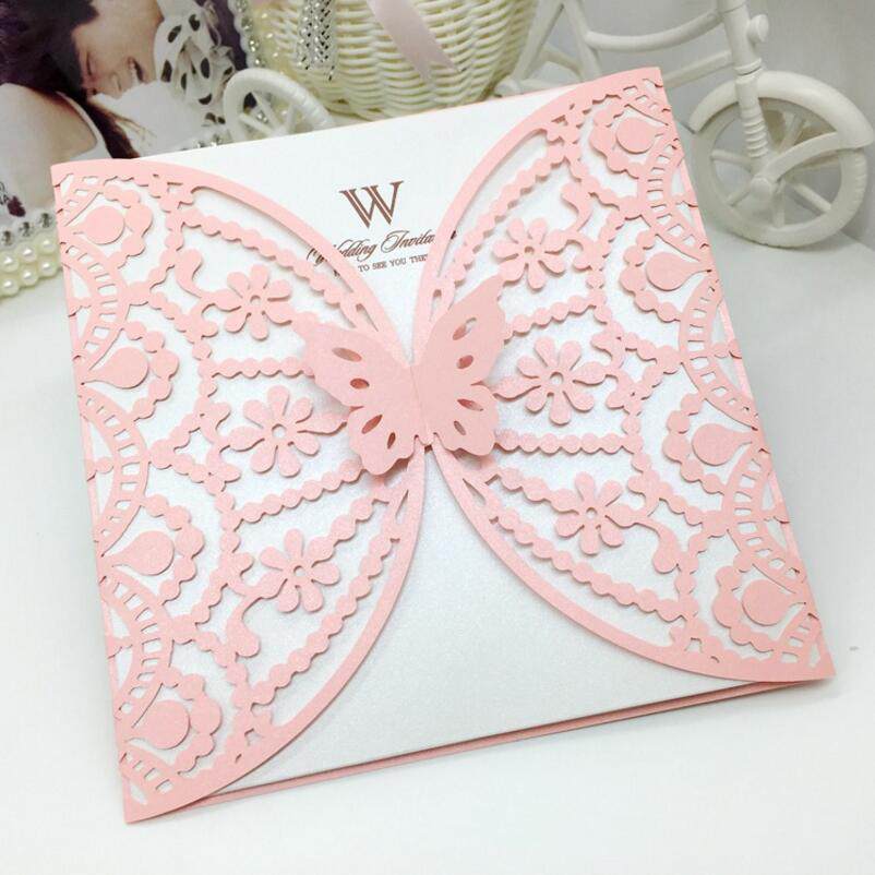50pcs/pack Laser Cut Butterfly Flower Invitations Card Business ...