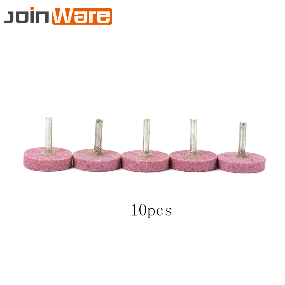 10Pcs Abrasive Stone 40mm Ceramic Corundum Grinding Wheel Head 6mm Shank T Shape Drill Rotary Tool For Angle Grinder