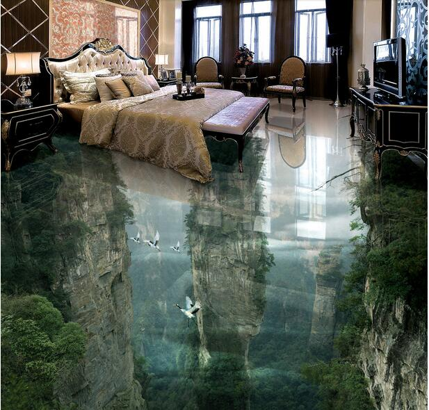 Custom photo 3d flooring mural self adhesion picture wall sticker Fairyland peak cliff painting 3d room murals wallpaper