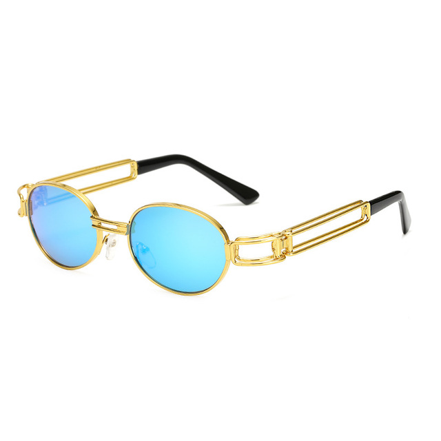 Vintage Gold Frame Round Steampunk Men Sunglasses Lunette Homme Women  Fashion Clear Sun Glasses Oculos de d60488d5d6fd