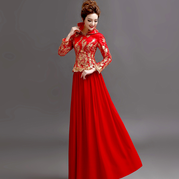 6b77c49880e Fashion Cheongsam Women Chinese Traditional Dress vestido de festa Red  Beading Sequined Wedding Bridal Gown Toast Dress G111-in Cheongsams from  Novelty ...