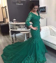 Emerald Green Long Sleeve Lace Mermaid Evening Dresses Party Sequin Arabic Formal Gowns robe de soiree longue