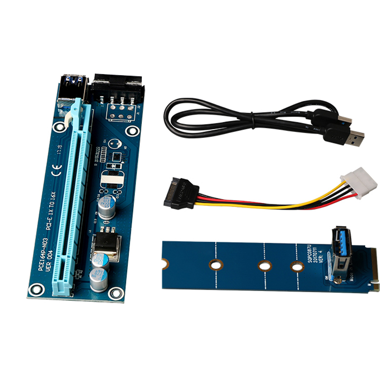 US $15 09 5% OFF|New M2 Riser Card M 2 NGFF To 16x GPU USB 3 0 Extender  Riser Adapter SATA to 4Pin IDE Power Supply for BTC Miner Machine Mining-in