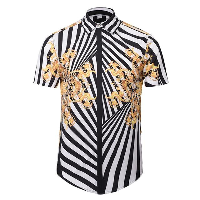 b0ebda2a8c BATTLERLOVER 3D Zebra Print Shirts Men Summer Camisa Masculina Short Sleeve Shirt  Man Dress Shirts Patchwork