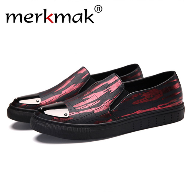 fc0e24243db Mermak Fashion Men Loafer Shoes Casual Brand Comfortable Soft Design Red  Sliver Color Slip On Men Flats Footwear Shoes Drop Ship