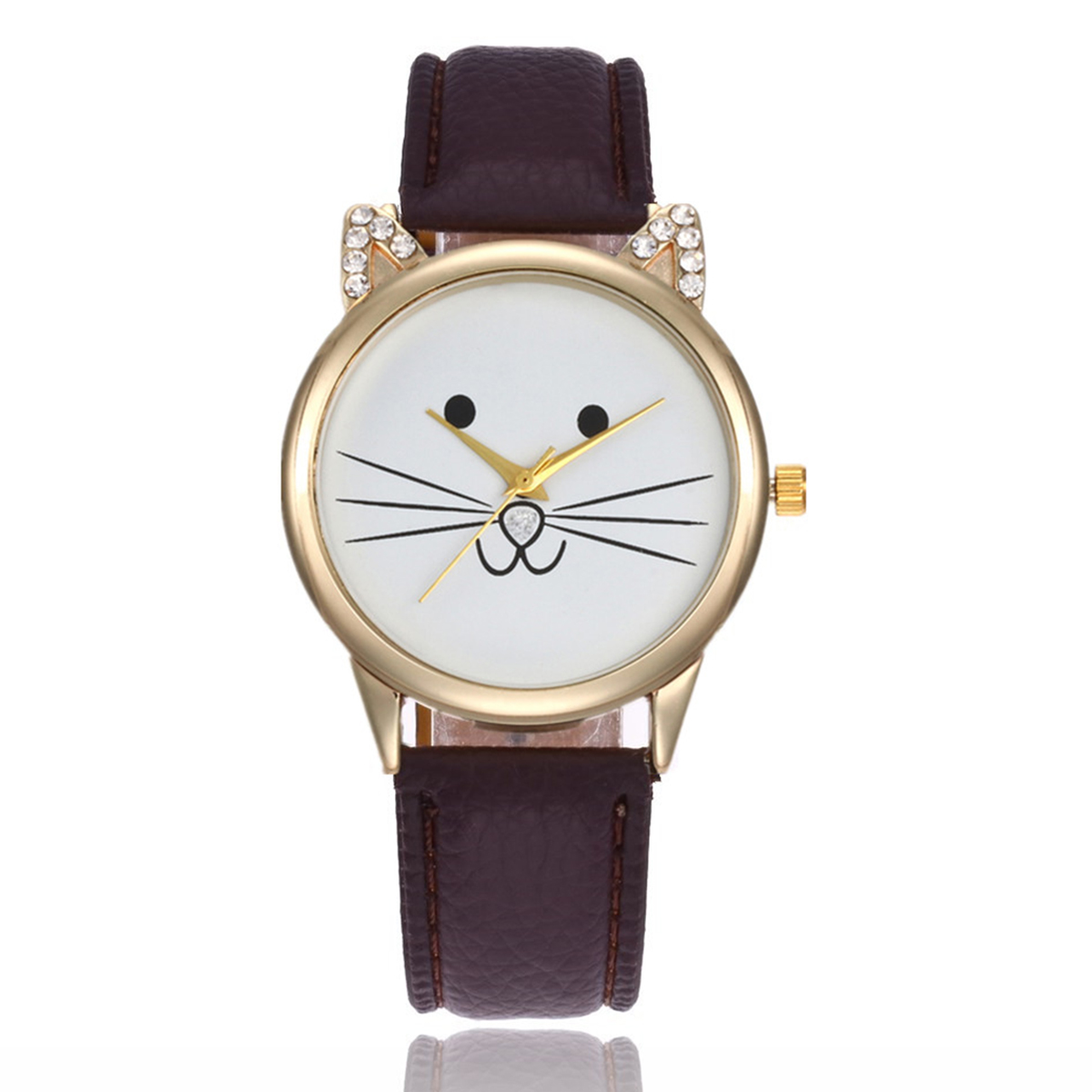 Women Girl Cute Cat Face Watch Fashion Casual Crystal Cartoon Cat Ears Leather Strap Analog Quartz Wrist Watches Gift Shellhard analog watch