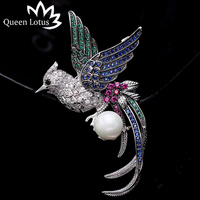 Queen Lotus New Luxury CZ Animal Bird Pearl Brooches for Women Silver Color Fashion Jewelry Brooch and Pins For Gift