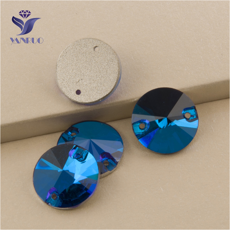 YANRUO 3200 All Sizes Blue Zircon Luxury Glass Strass Rivoli Crystal Flatback Sew On Crystal Applique For Dresses
