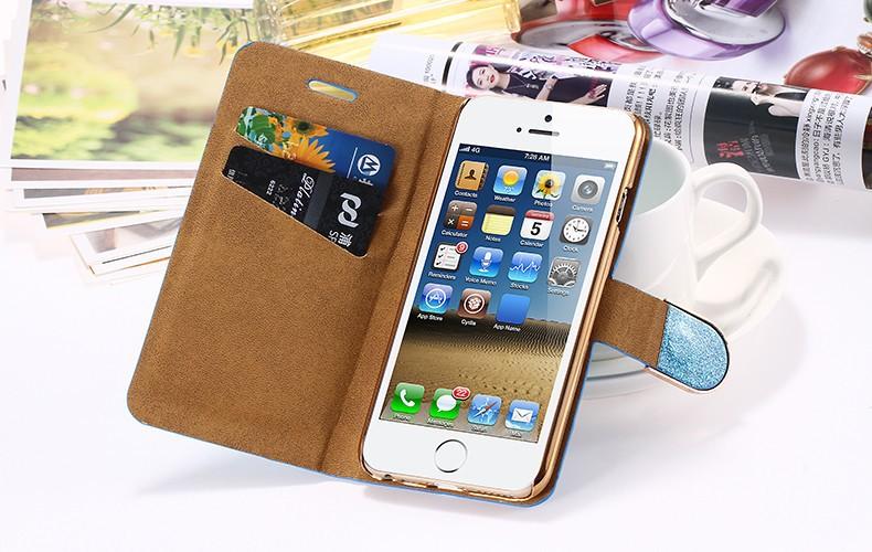 Kisscase dla iphone 5s case glitter bling skórzane etui dla iphone 5 5s se 6 6 s 7 plus stań portfel pokrywa dla iphone 7 7 plus SE 17