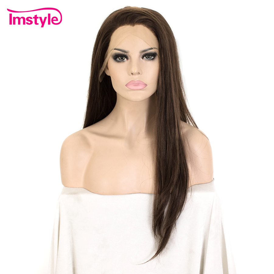 Imstyle Dark Brown Wig Synthetic Hair Lace Front Wig Straight Hair Wigs For Women Heat Resistant Fiber Glueless Cosplay Wig