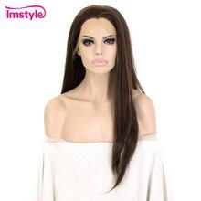 Imstyle Dunkelbraun Perücke Synthetische Haar Spitze Front Perücke Gerade Haar Perücken Für Frauen Hitze Beständig Faser Glueless Cosplay Perücke