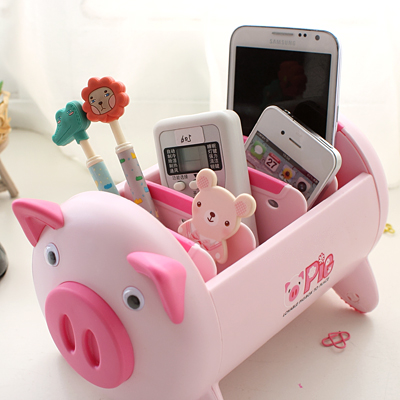 Creative Pink/Black Pig Cute Desk Accessories Stationery Holder Plastic Desk Organizer Office Pen Storage Box creative diy paper desktop storage box office stationery pen holders pen storage rack desk organizer